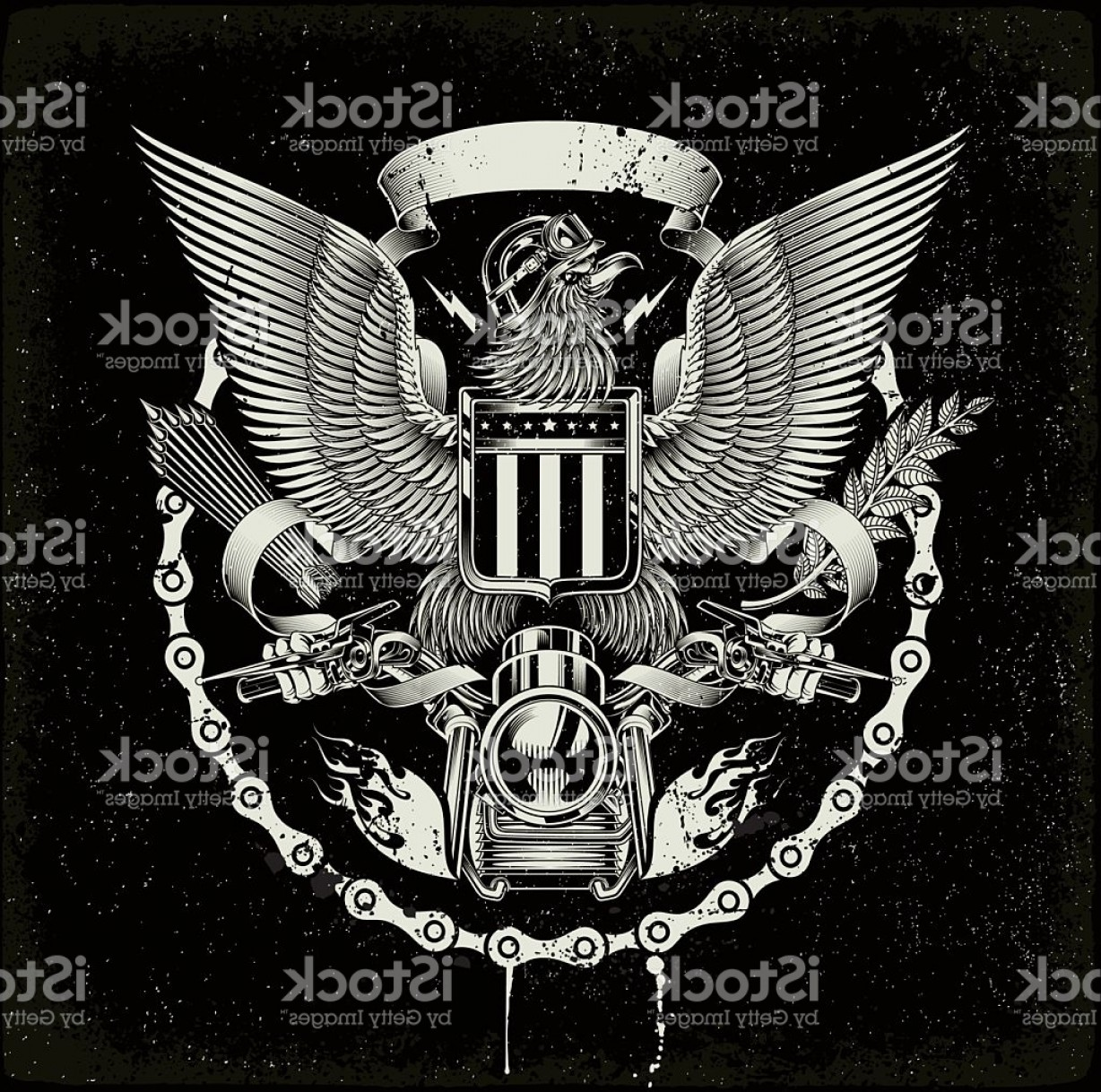 Gang Vector Graphics: American Coat Of Arms Biker Eagle Gm