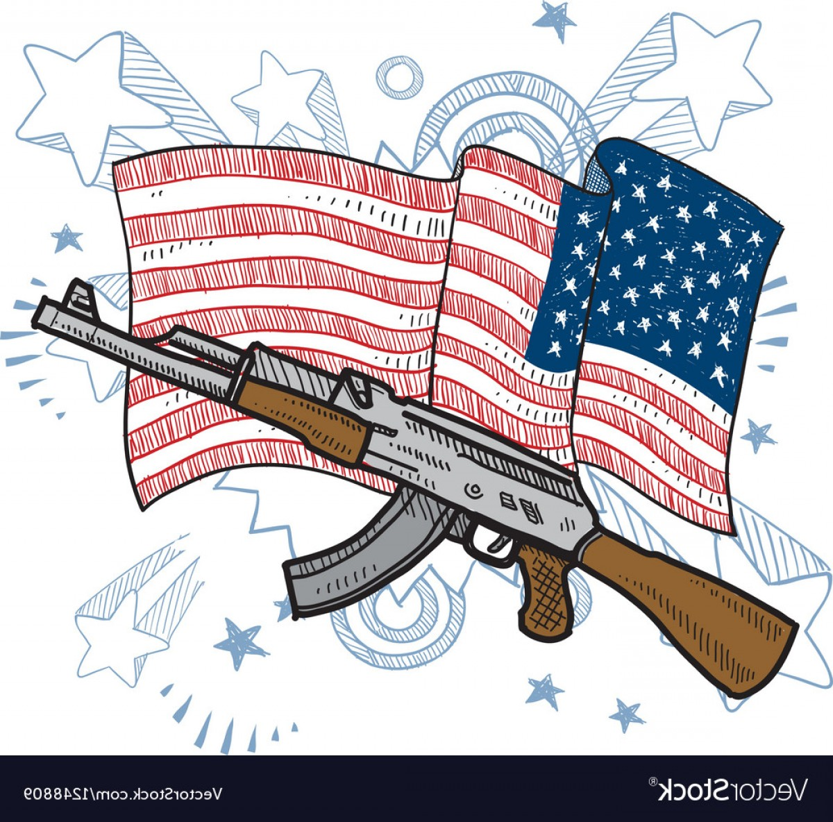 American Gun Vector: American Flag And Gun Vector