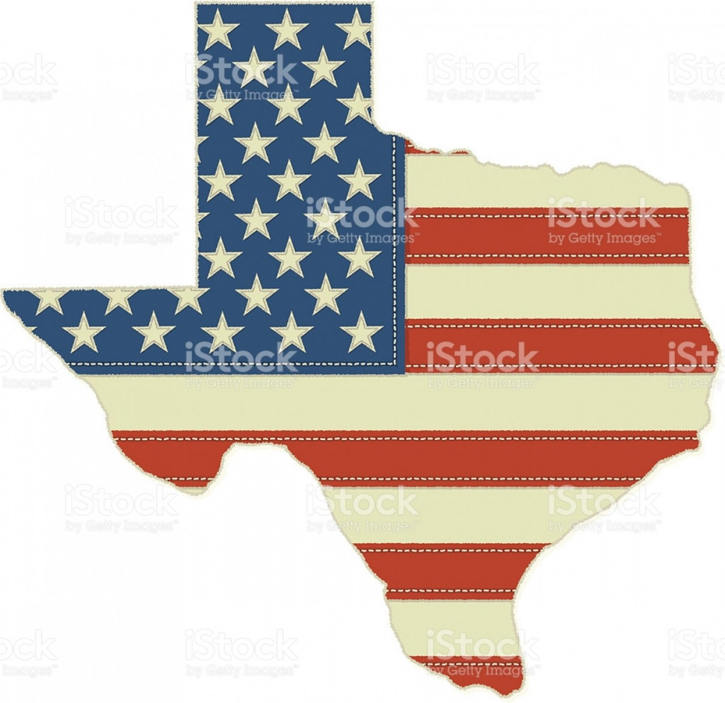 Texas American Flag Vector: American Flag In Texas State Shape Gm