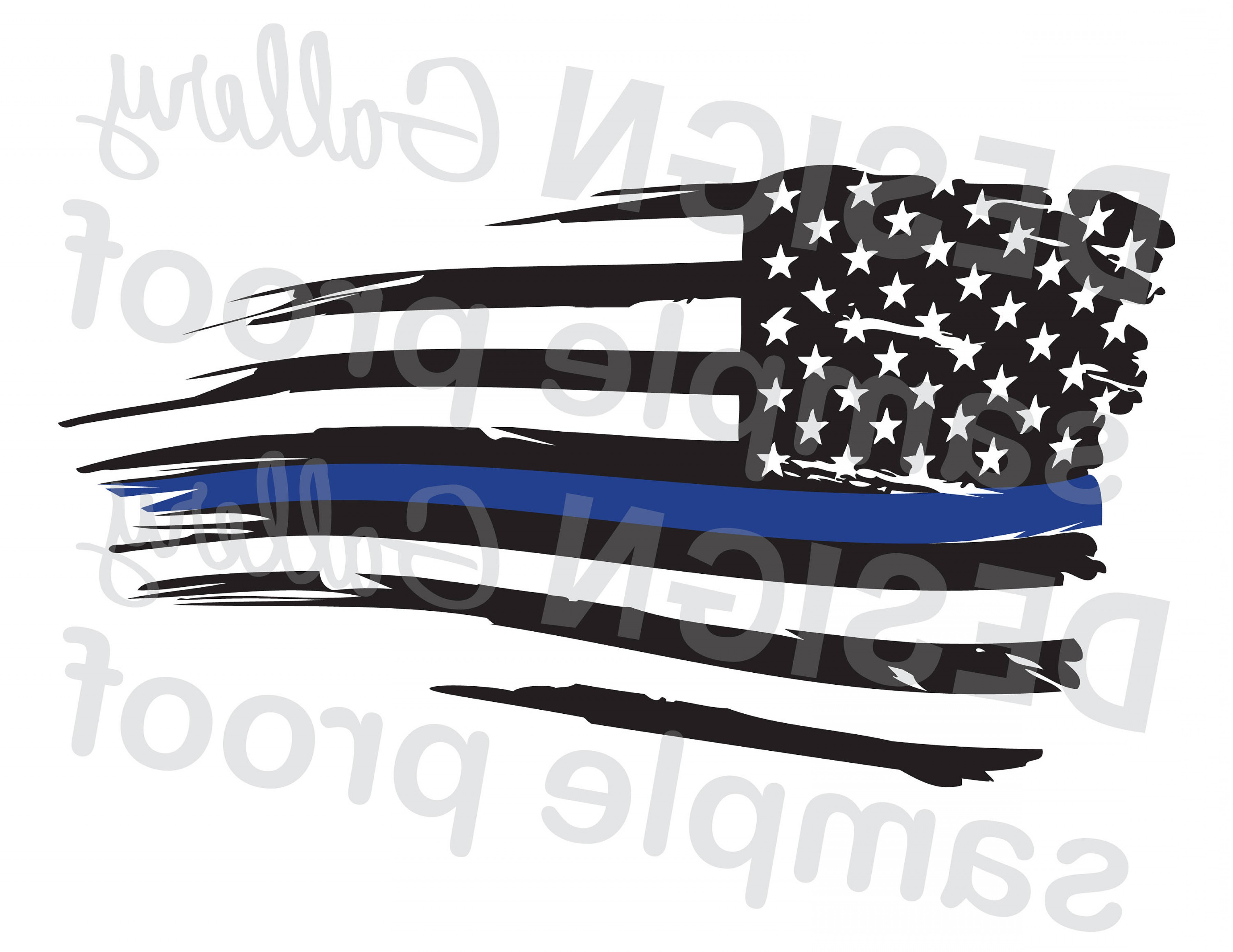 Distressed Flag Vector Digital: American Flag Thin Blue Line Distressed