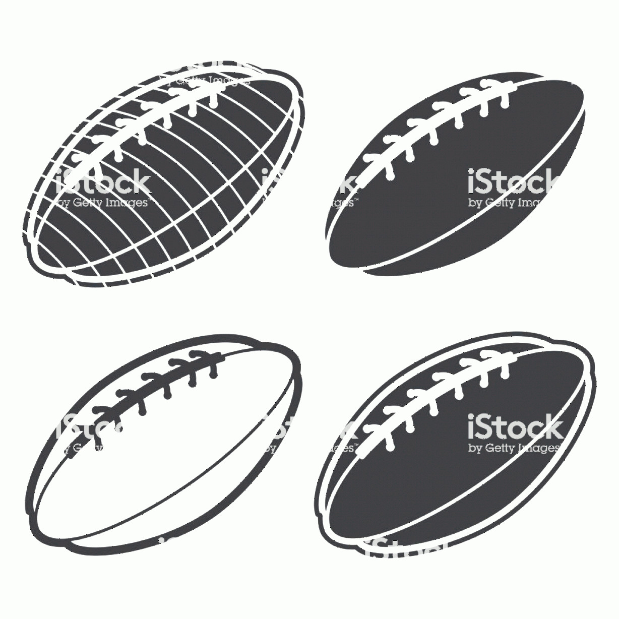 Football Laces Vector Silhouette: American Football Ball Black Silhouette Vector Icons Set Isolated On A White Gm