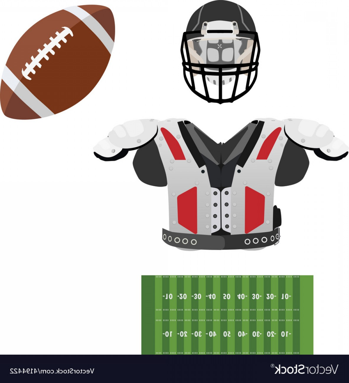 High Res Vector American Football: American Football Helmet Ball Field And Armour Vector