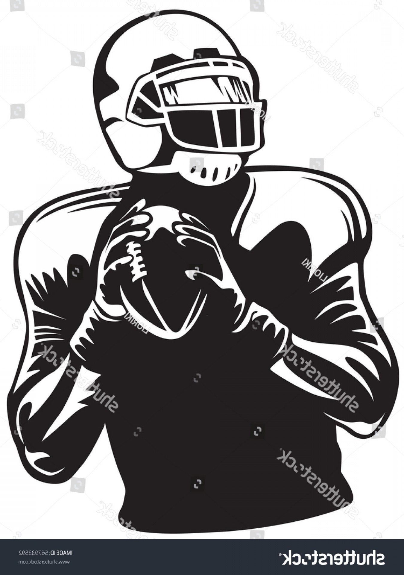 High Res Vector American Football: American Football Player Quarterback Isolated On