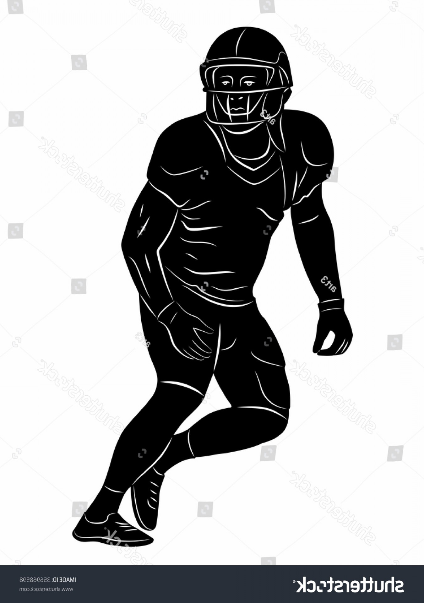 Black And White Vector American Football: American Football Player Silhouette Black White