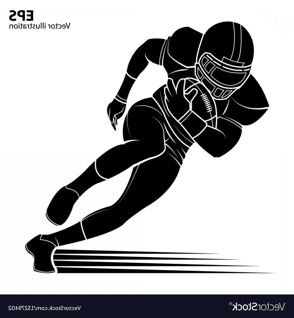 High Res Vector American Football: American Football Player Silhouette Vector