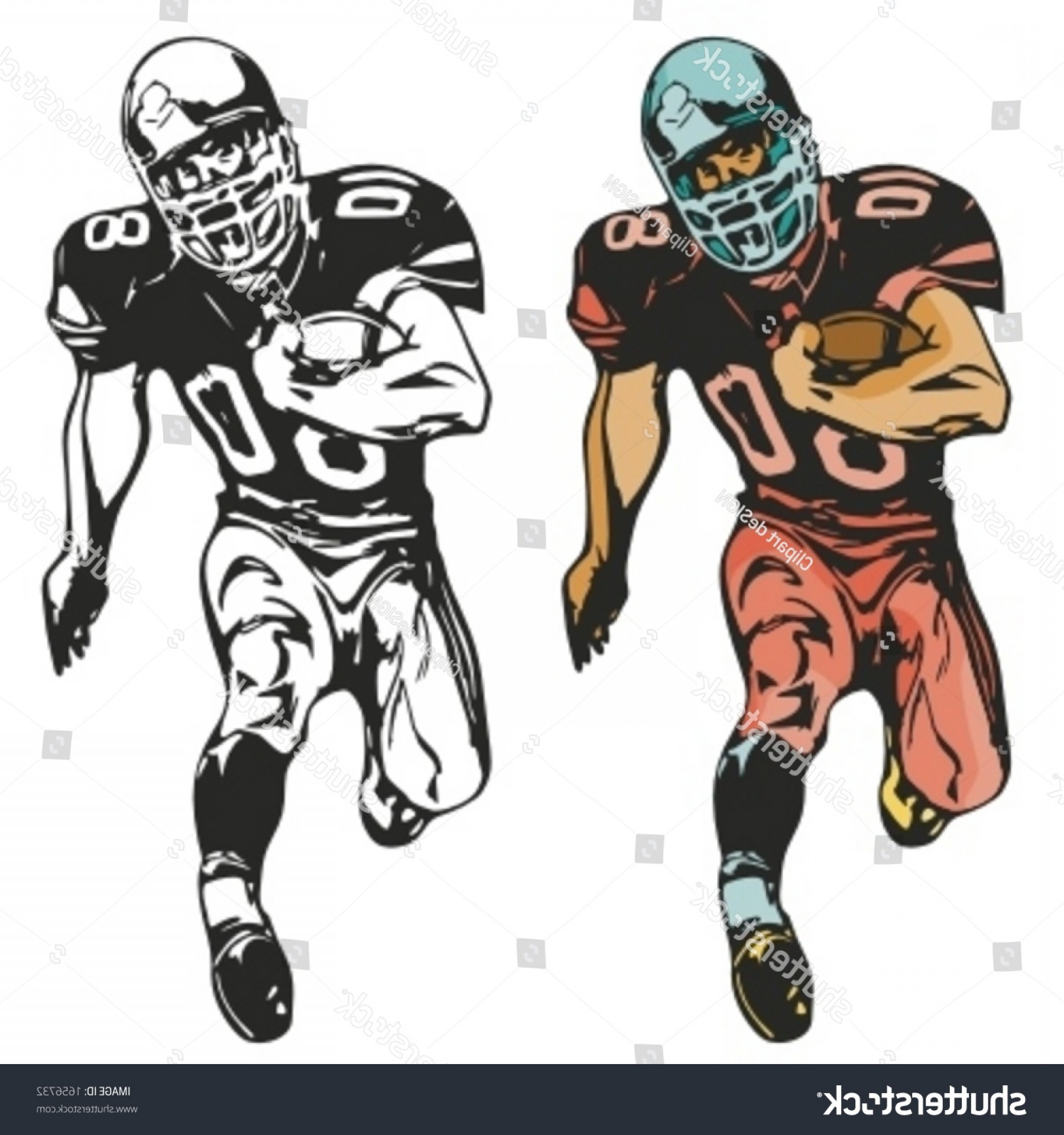 High Res Vector American Football: American Football Player Vector Illustration