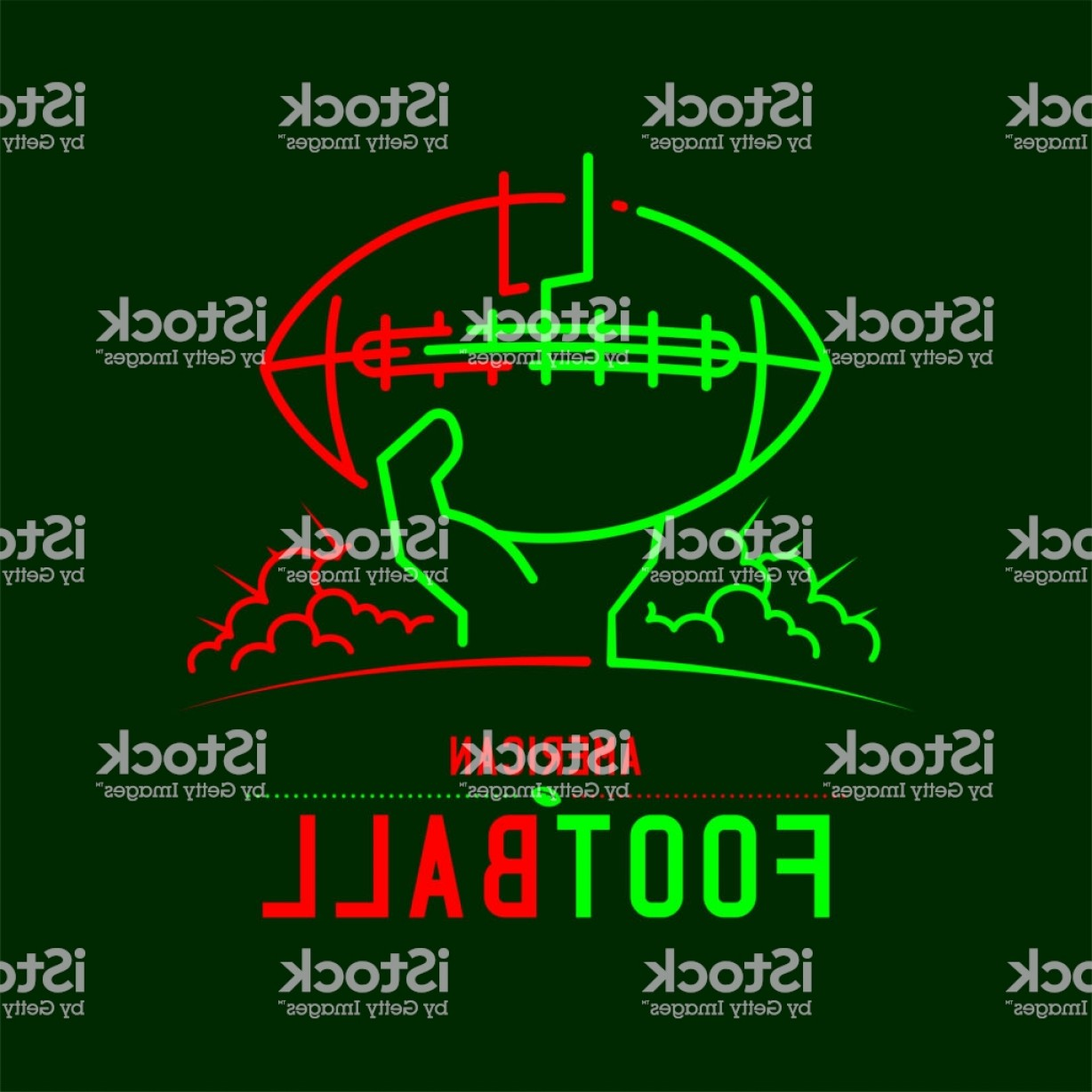 Abstract Football Vector Outline: American Football With Hand Holding Ball And Goal Post Icon Outline Stroke Set Dash Gm