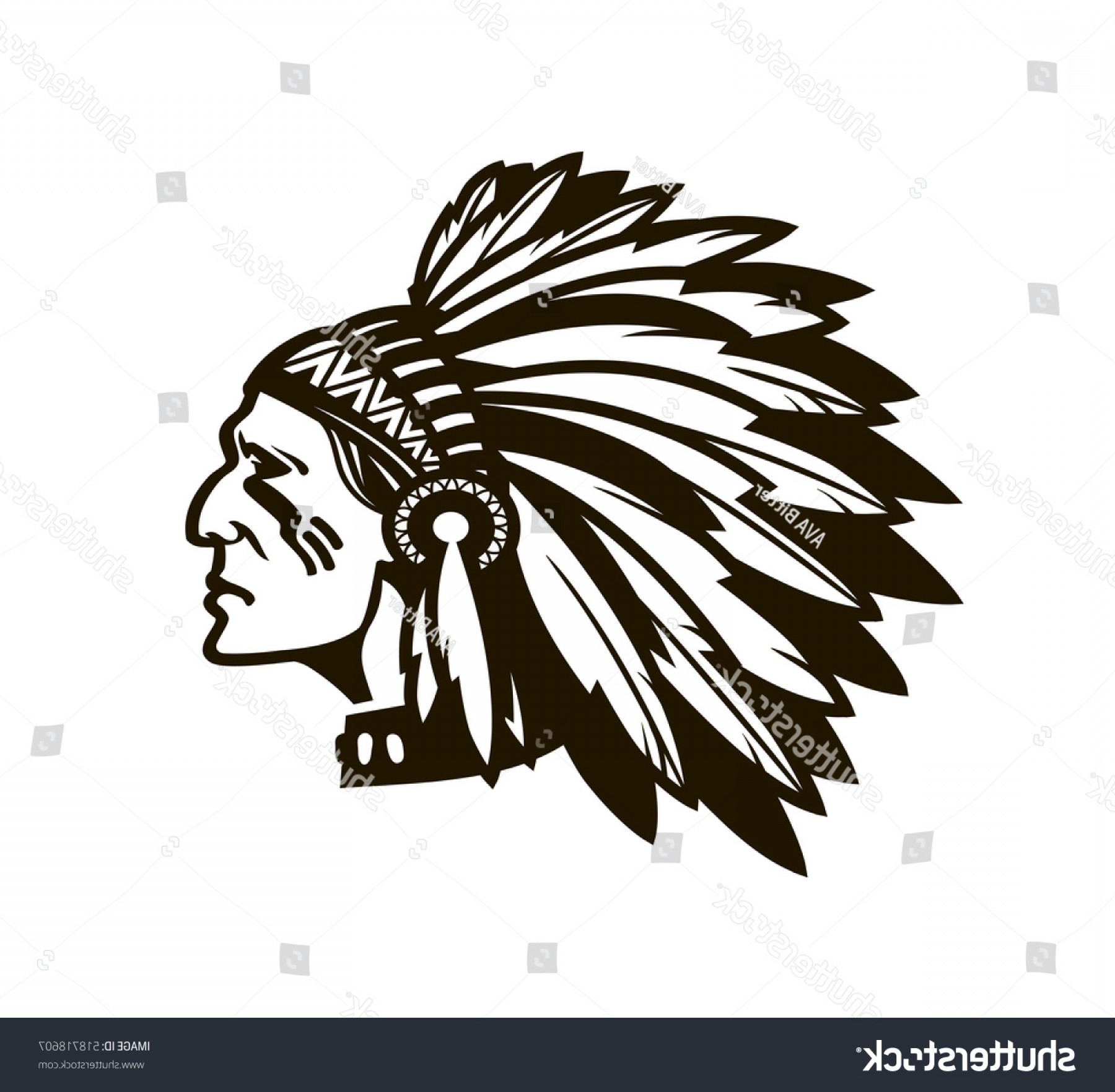 American Indian Chief Vector: American Indian Chief Logo Icon Vector