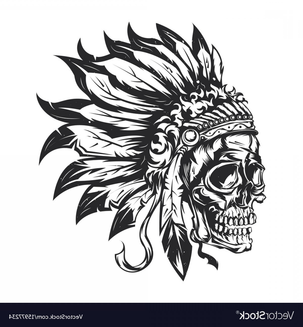 American Indian Chief Vector: American Indian Chief Skull Vector