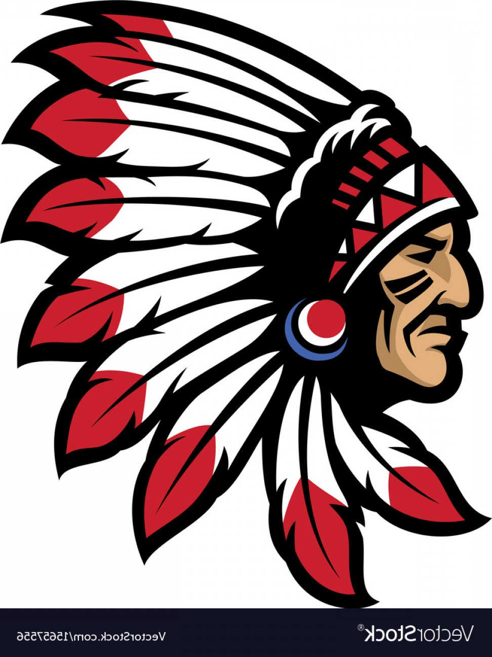 American Indian Chief Vector: American Native Chief Head Mascot Vector