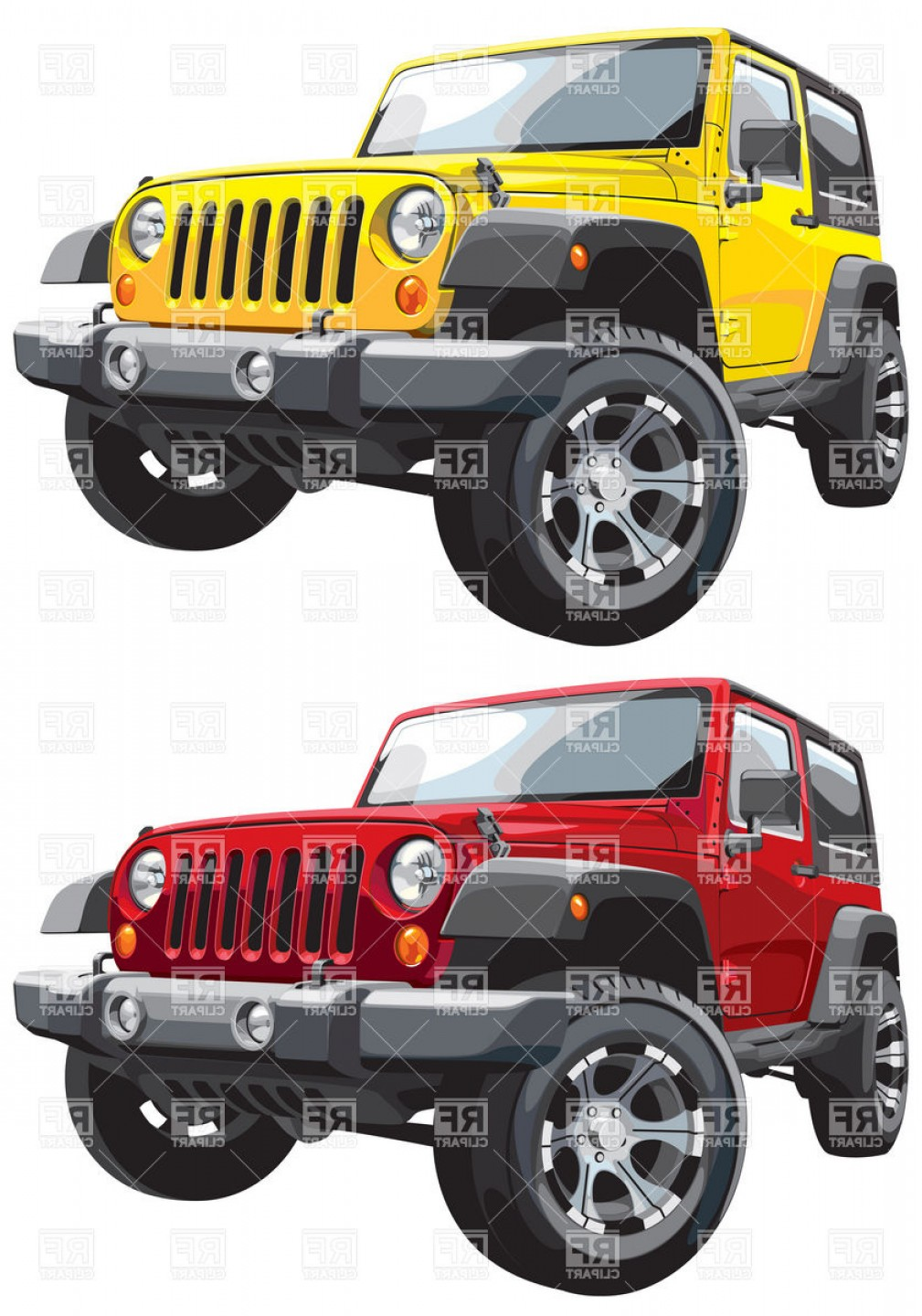 Jeep Off-Road Vector Art: American Off Road Jeep Vector Clipart