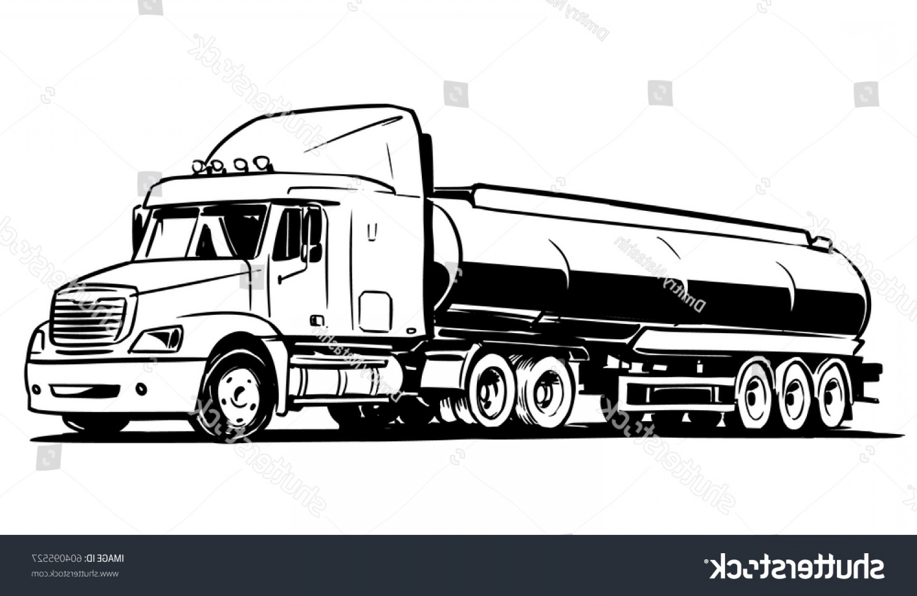 Vector Semi Tanker: American Tanker Semitruck Isolated On White