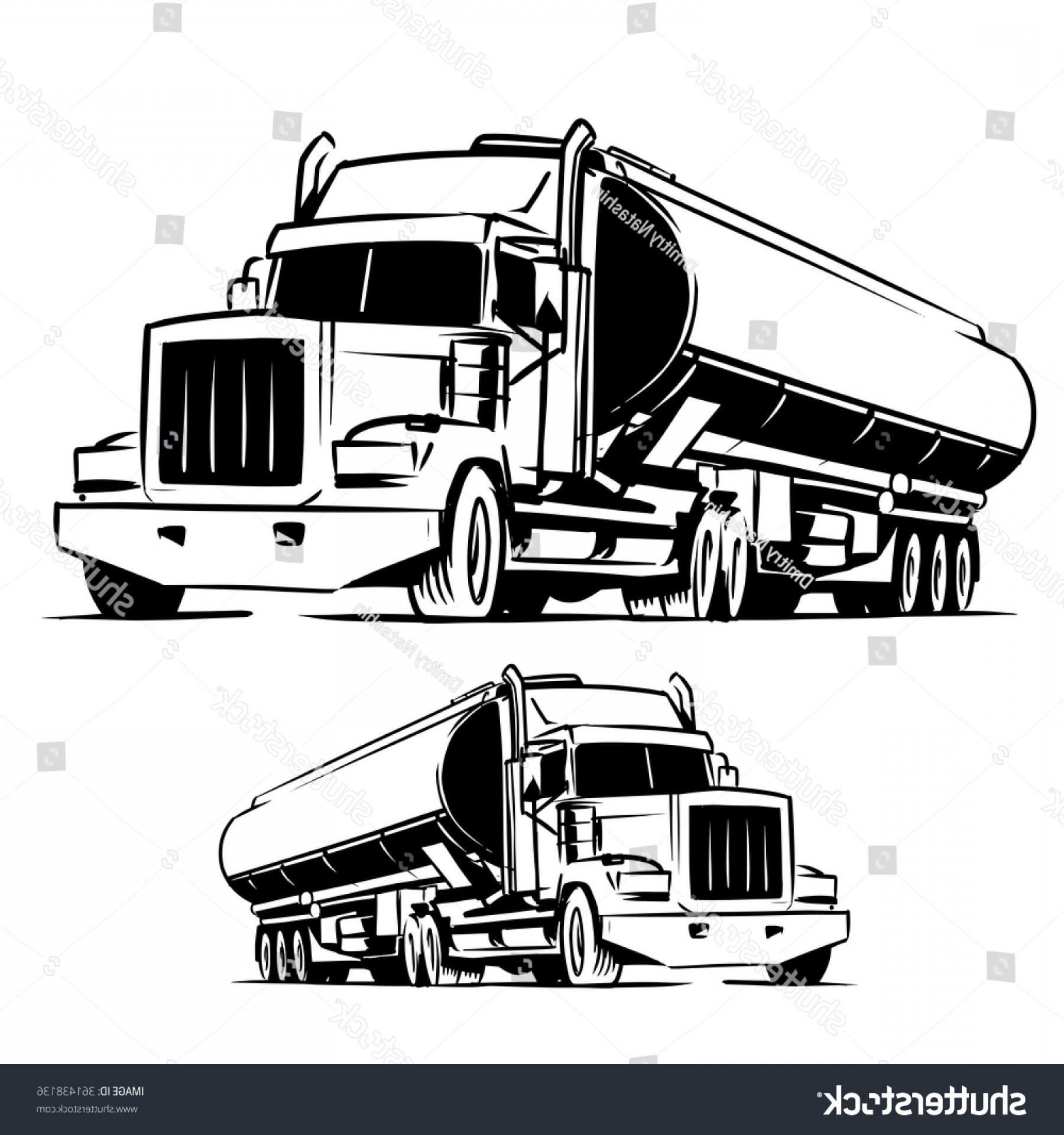 Vector Semi Tanker: American Tanker Truck Black White Illustration