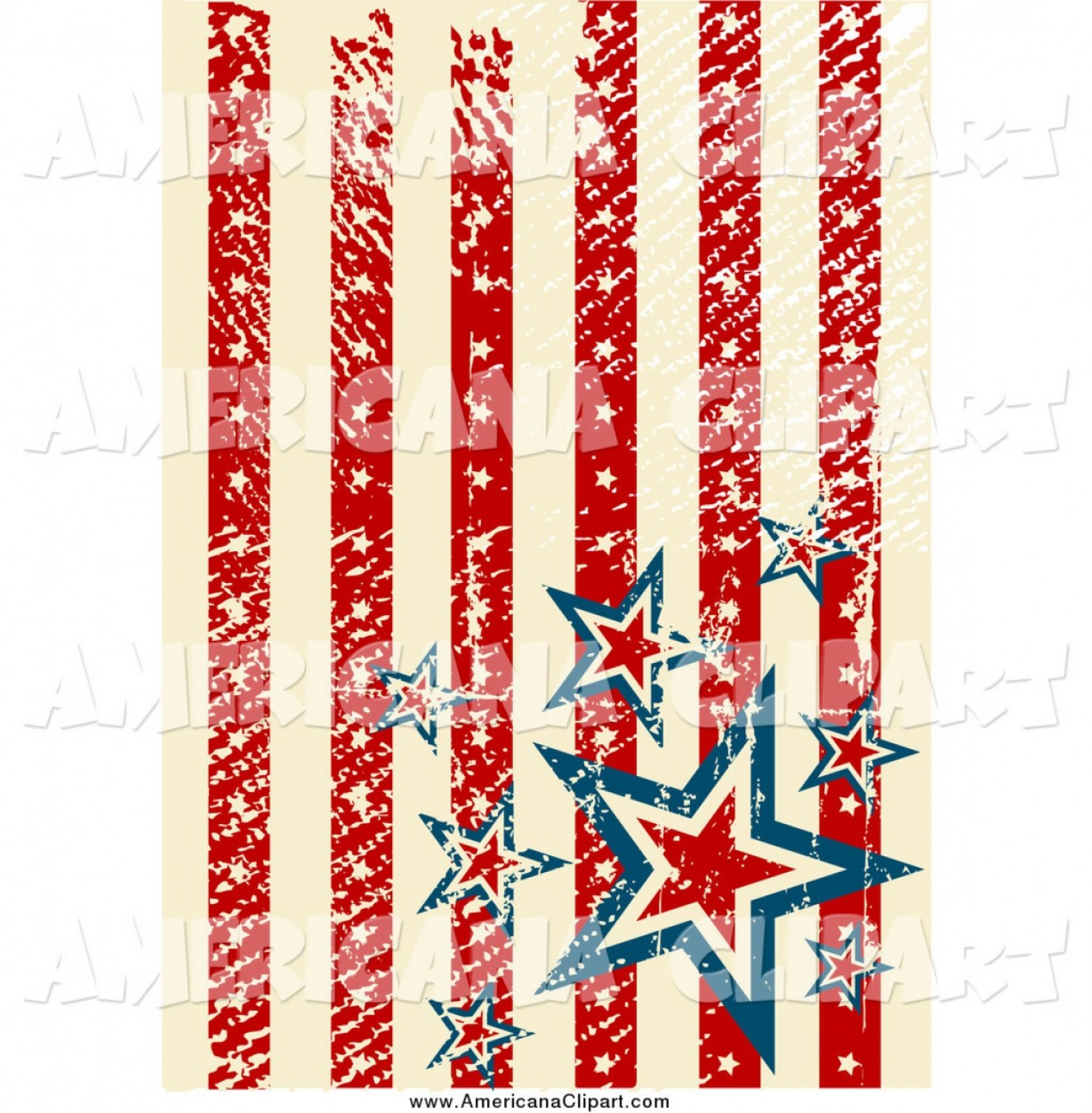 Americana Vector Art: Americana Vector Clip Art Of A Distressed Vertical American Stars And Stripes Background By Pushkin