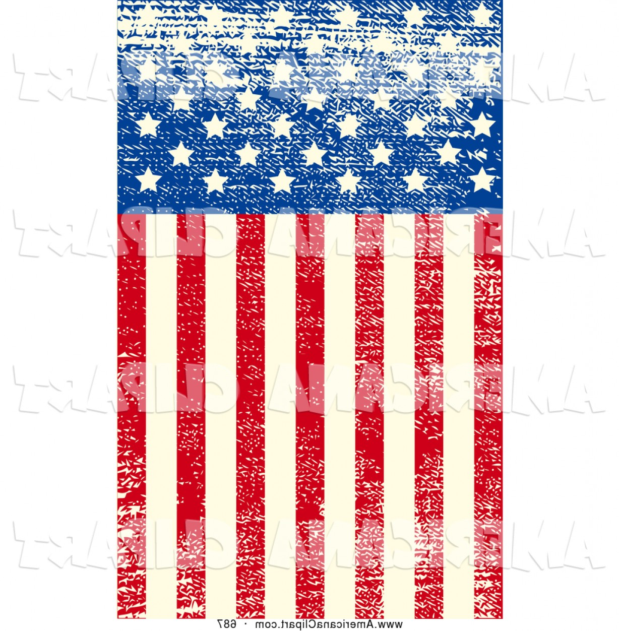 Distressed Flag Vector Digital: Americana Vector Clip Art Of A Grungy American Flag With Distressed Stars And Stripes By Pushkin