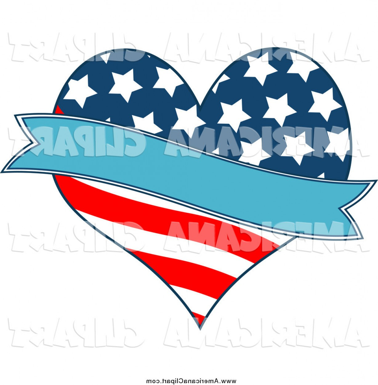 Americana Vector Art: Americana Vector Clip Art Of A Patriotic American Heart And A Blue Banner By Pushkin