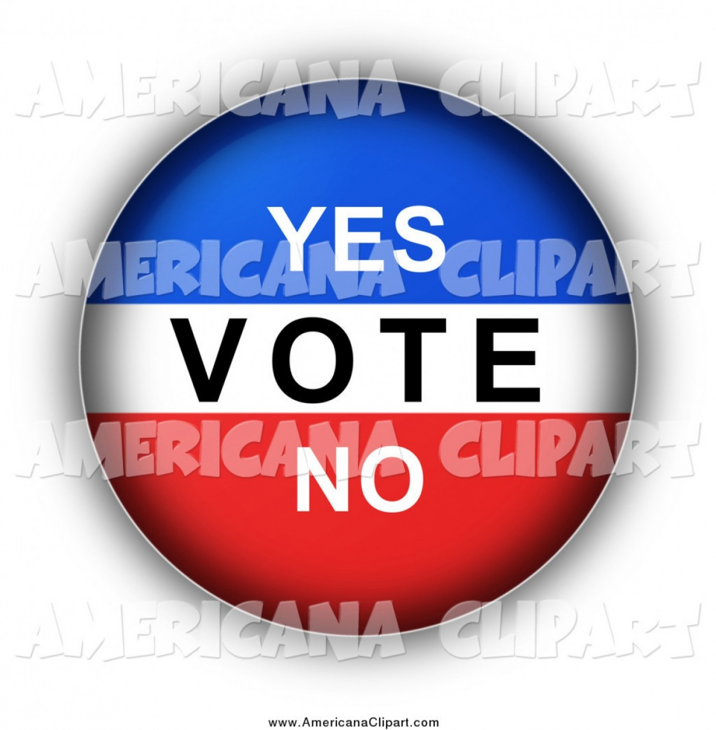 Americana Vector Art: Americana Vector Clip Art Of A Red White And Blue Yes Vote No Round Button By Oboy