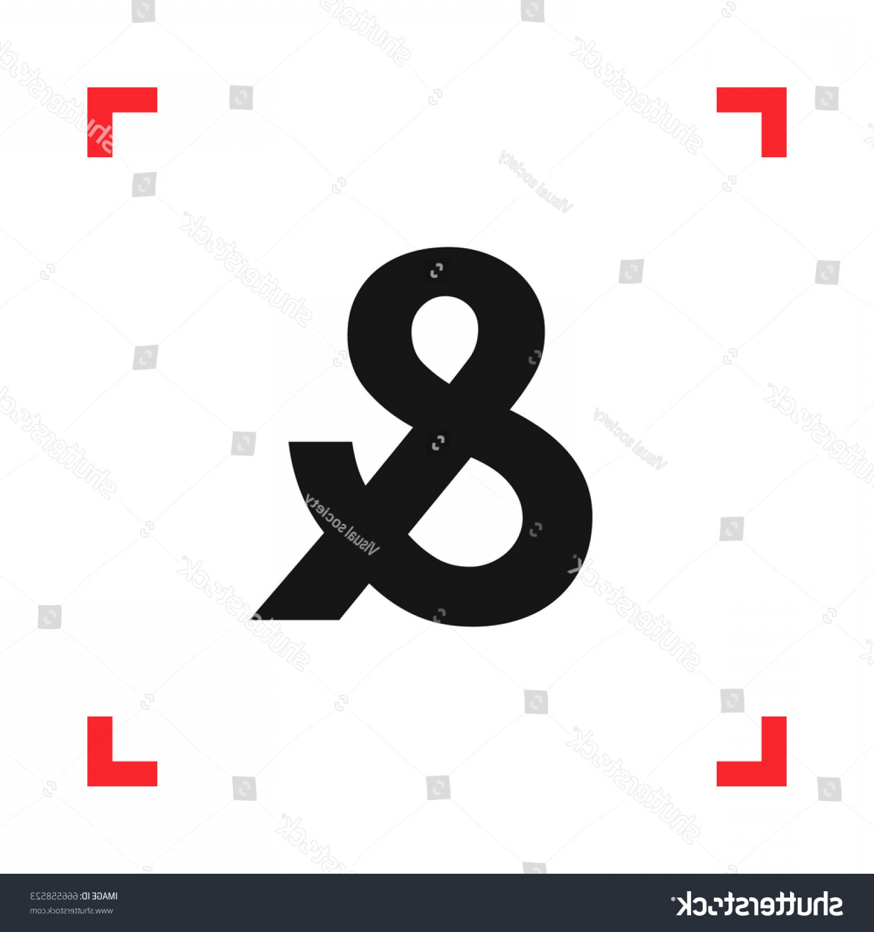 Ampersand Symbol Vector: Ampersand Symbol Red Viewfinder Isolated On