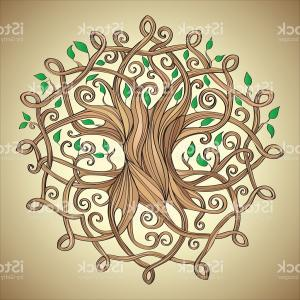 Celtic Tree Vector: Amazing Tree Of Life In The Celtic Pattern With Leaves Gm