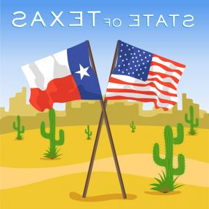 Texas Flag Vector Art: American And Texas Flags In Desert Vector