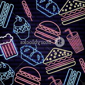 Ruger Vector Art: American Independence Day Neon Food Beer Hamburuger Cake Icecream Sandwich Vector Illustration Rwfbsctxmjiccnci