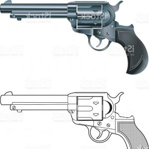 Vector Old Colt Revolvers: Colt Revolver Pistol On White Background