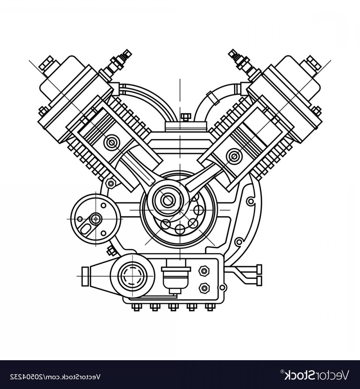 Combustible Engine Vector: An Internal Combustion Motor The Drawing Engine Vector