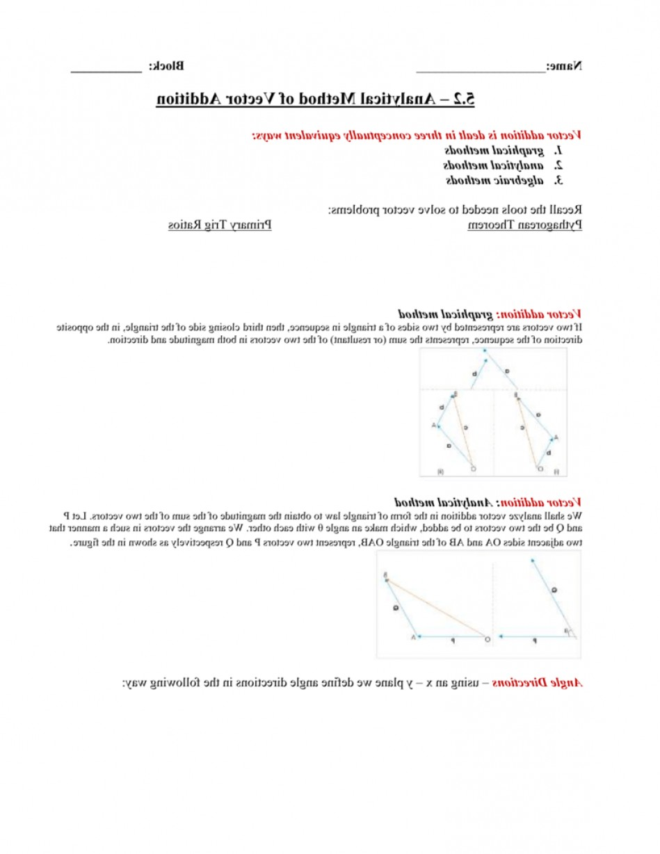 2.Solve Resultant Vectors: Analytical Method Of Vector Addition Notes Key