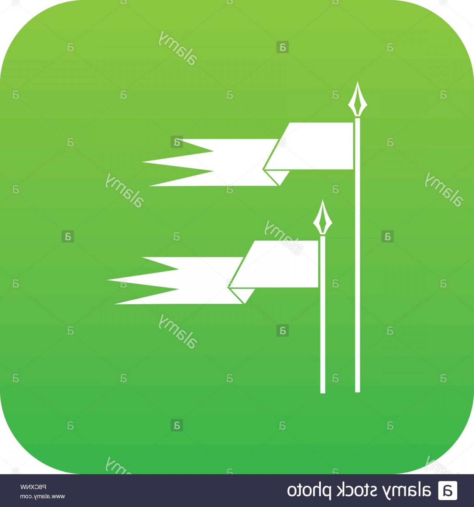 Vector Ancient Battle: Ancient Battle Flags Icon Digital Green Image
