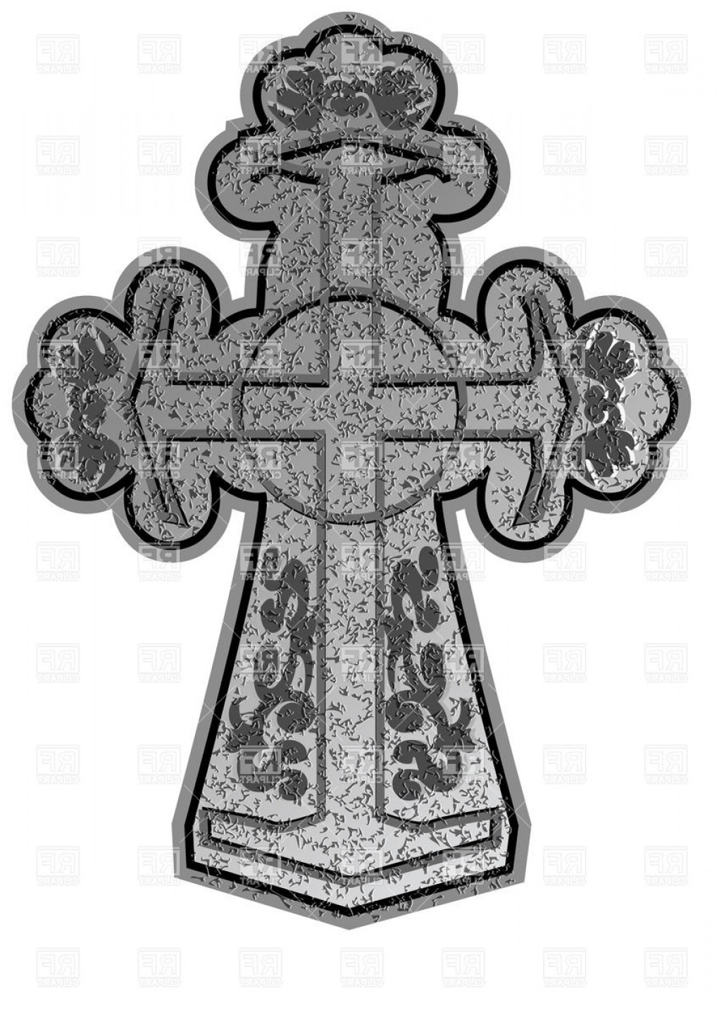 Christian Vector Borders: Ancient Christian Stone Cross With Ornament Vector Clipart