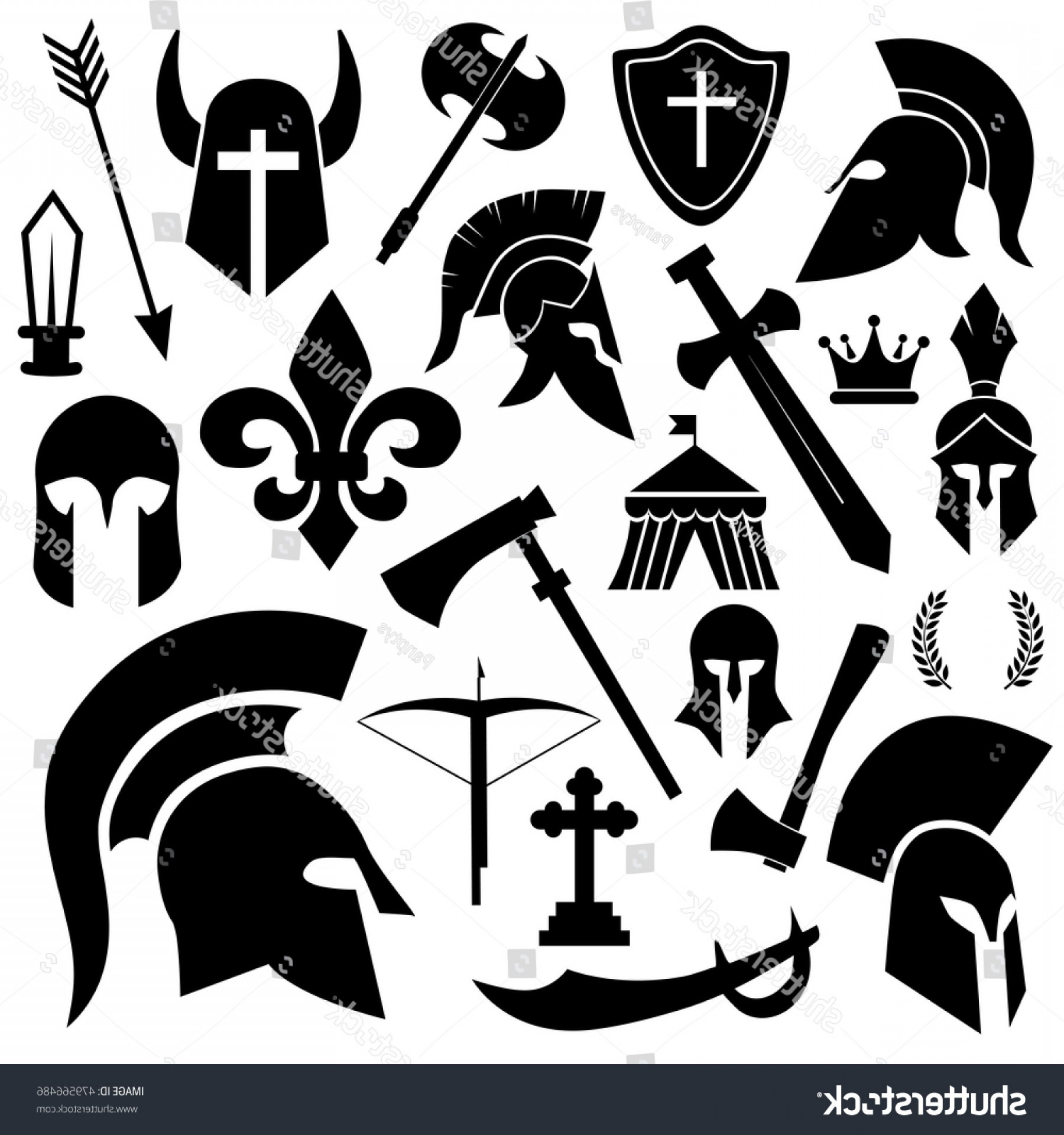 Warrior Vector Art: Ancient Knight Warrior Soldier Icon Set