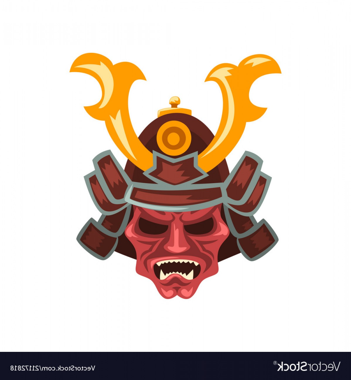 Red Samurai Vector: Ancient Samurai Warrior War Helmet With Horns Vector