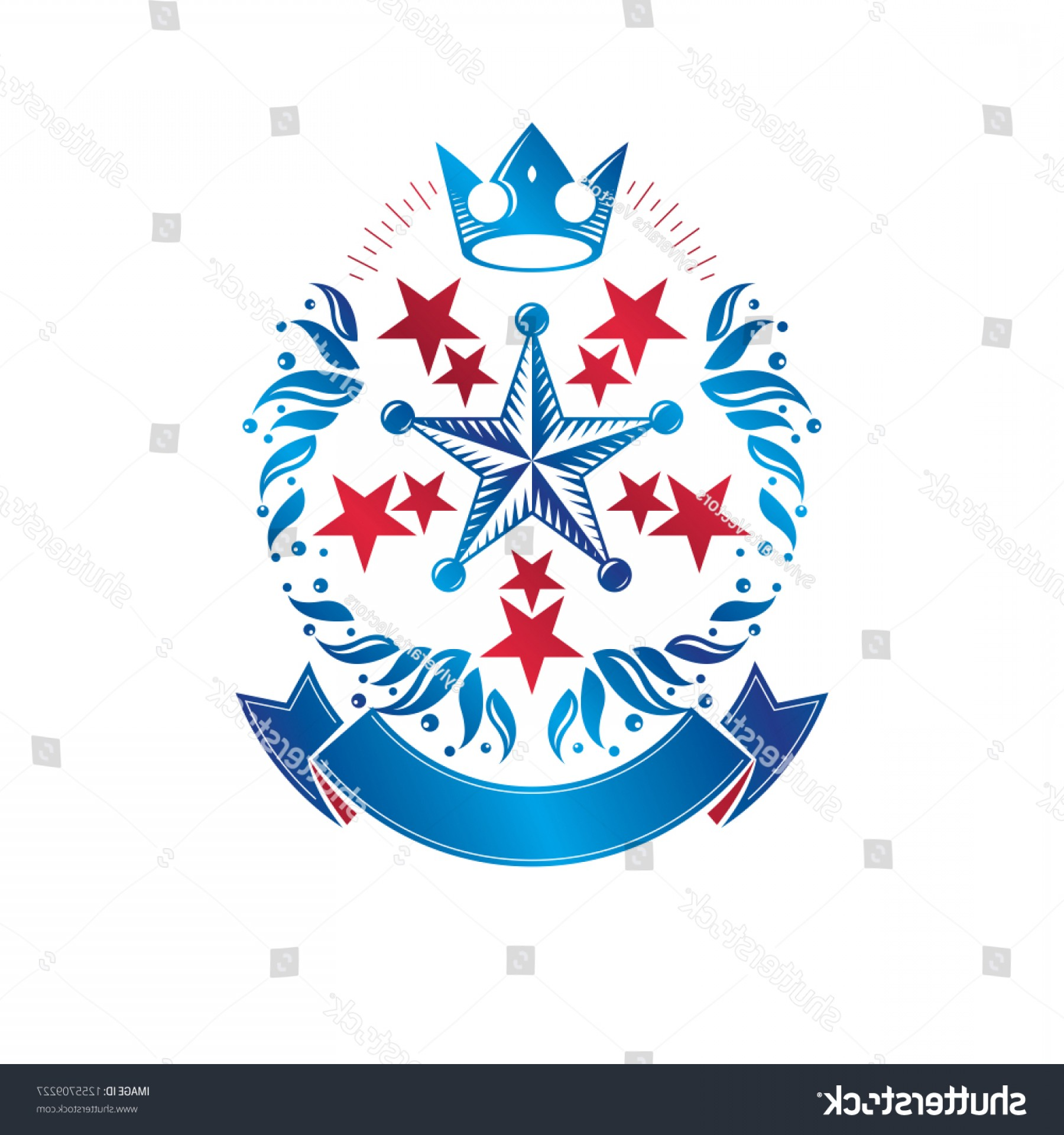 Heraldic Vector Ornaments: Ancient Star Emblem Decorated Imperial Crown