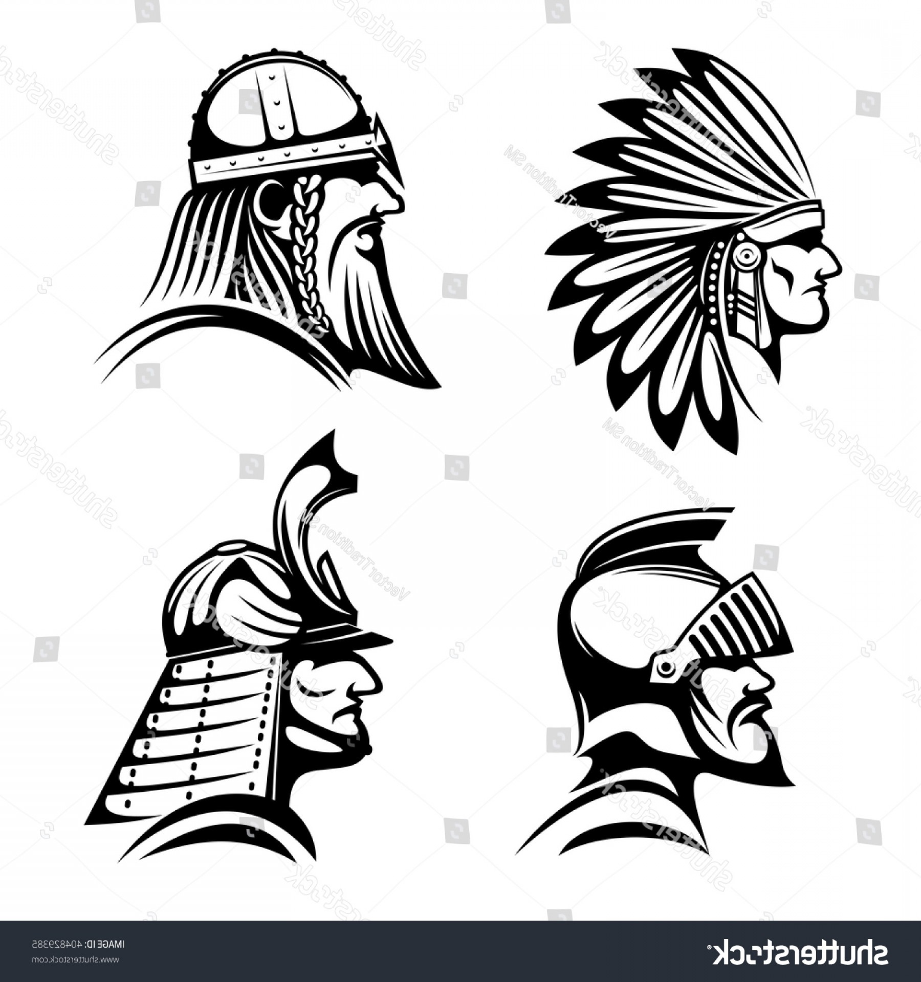 Warrior Thin Blue Line Vector: Ancient Warriors Profiles Medieval Knight Bearded