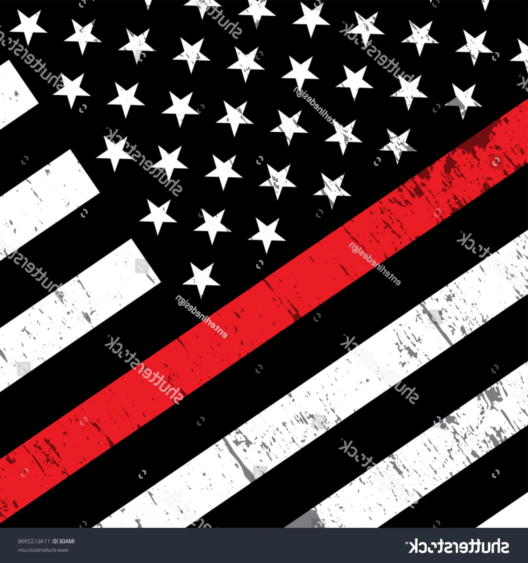 Thin Red Line Distressed Flag Vector: Angled American Flag Icon Symbolic Support