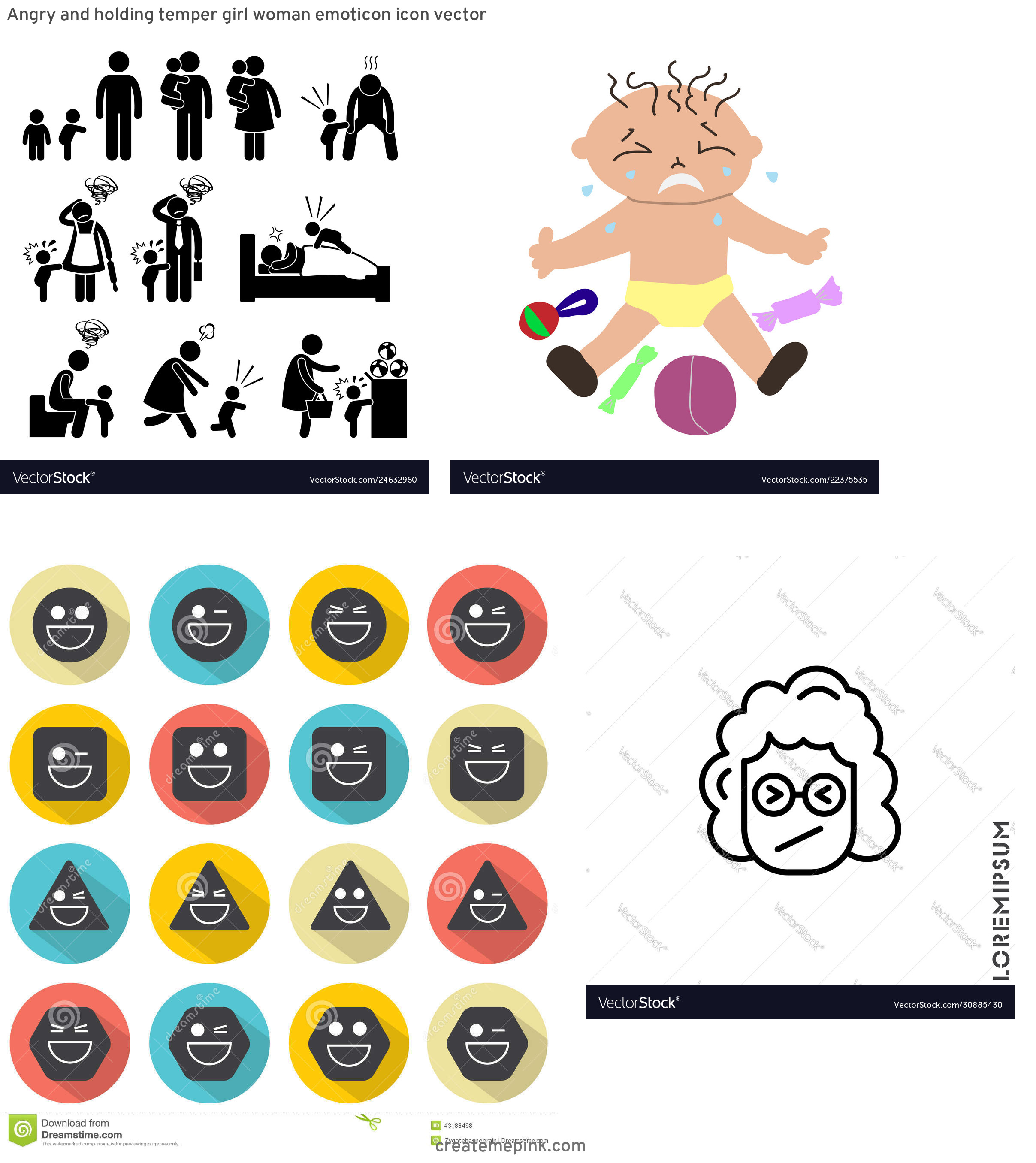 Temper Vector: Angry And Holding Temper Girl Woman Emoticon Icon Vector