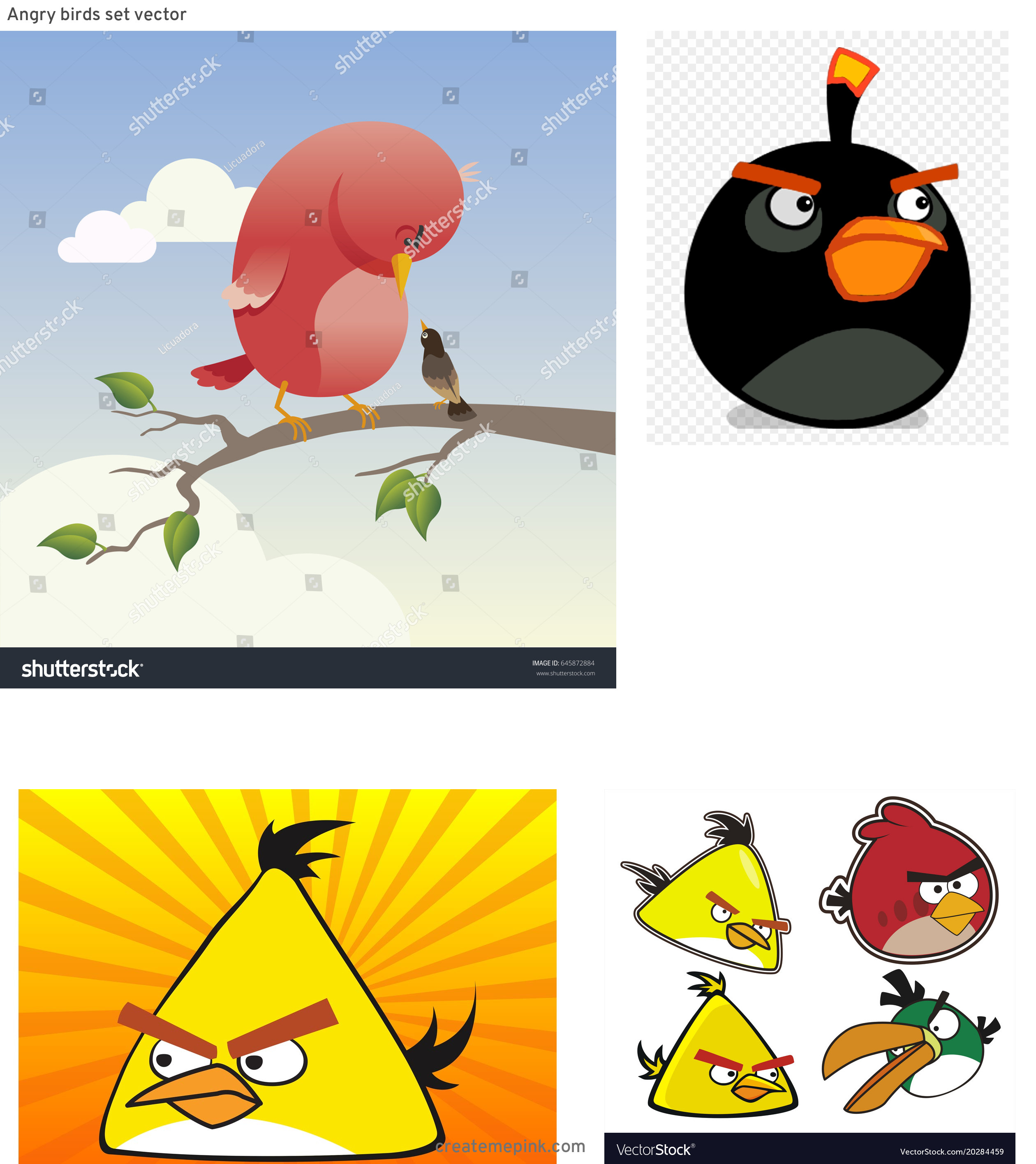 Red Angry Birds Vector: Angry Birds Set Vector