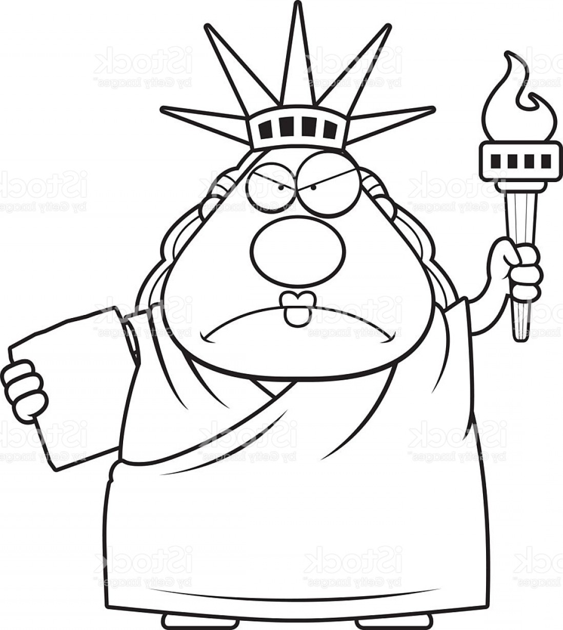 Statue Of Liberty Face Vector: Angry Cartoon Statue Of Liberty Gm