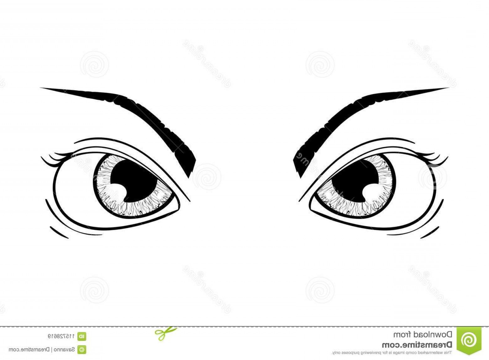 Angry Eyebrow Vector: Angry Eyes Hand Drawn Sketch Angry Eyes Hand Drawn Sketch Vector Illustration Isolated White Background Image