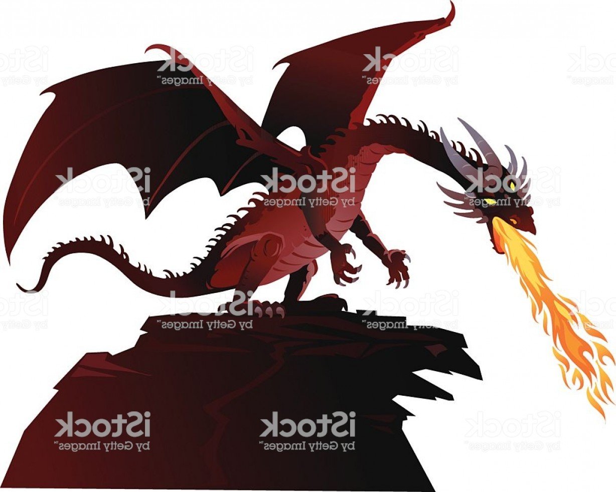Dragon Fire Vector: Angry Fairy Tale Dragon Breathing Fire Gm