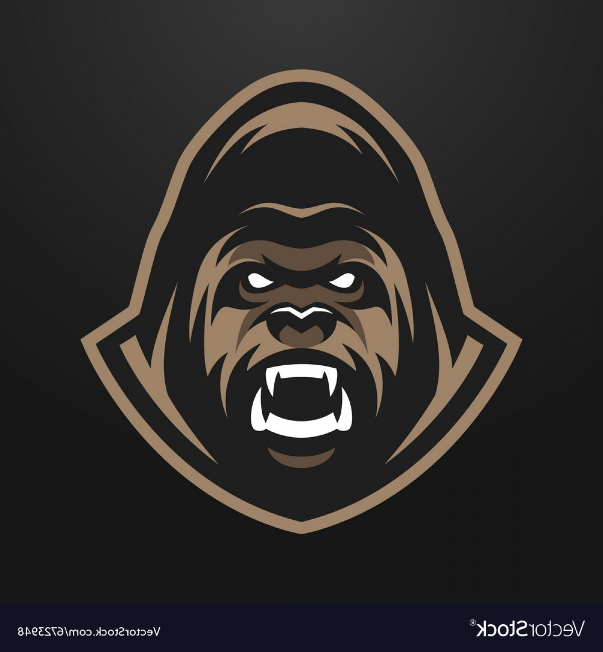 Chewbacca Vector Flat Design: Angry Gorilla Logo Symbol Vector