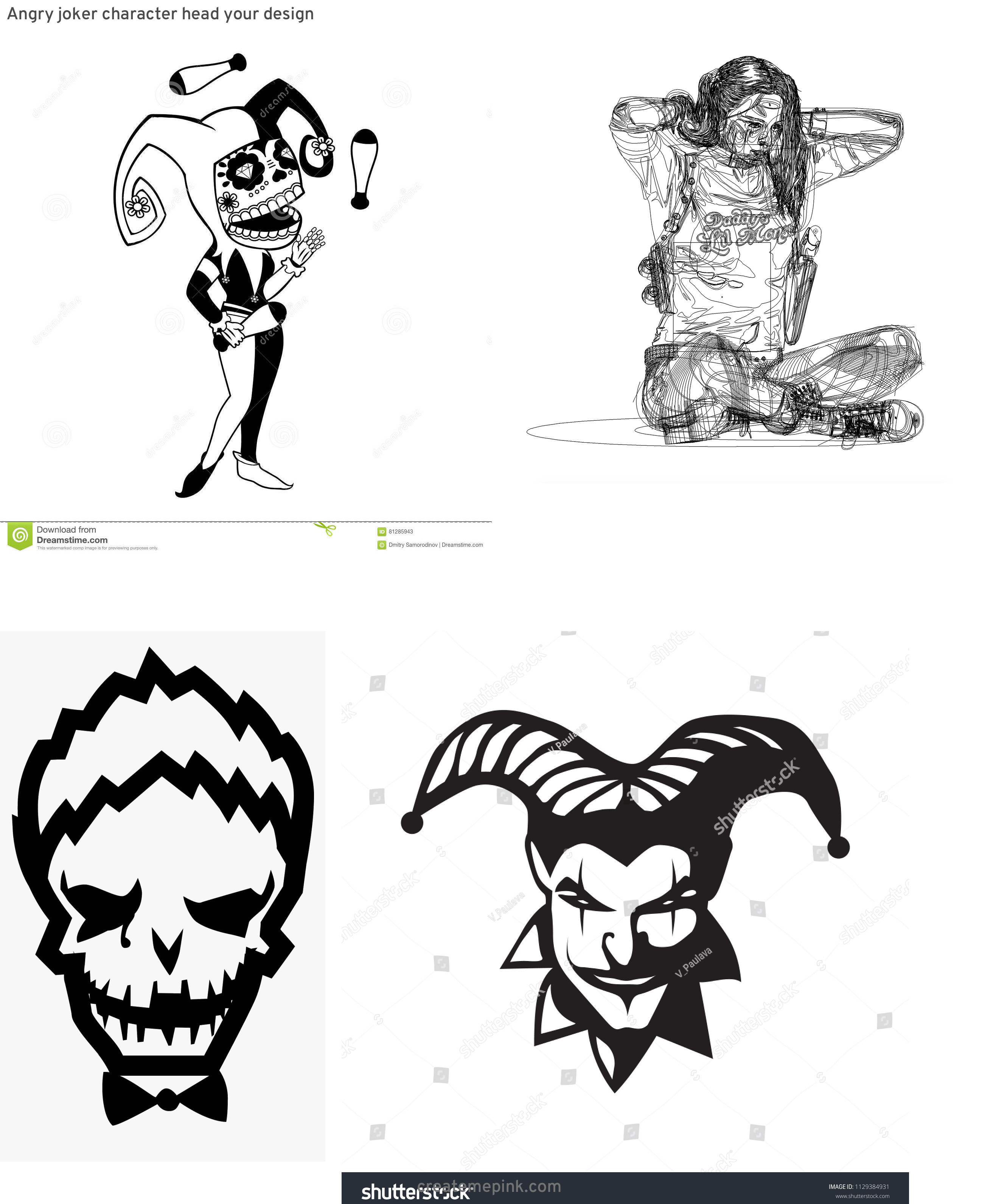 Harley Quinn Black And White Vector: Angry Joker Character Head Your Design