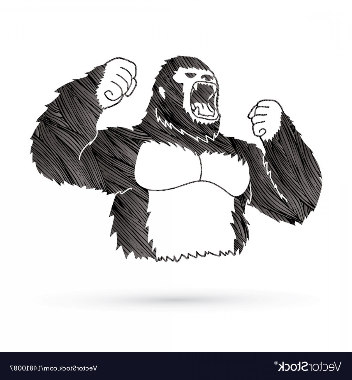 Drawings Of King Kong Vector: Angry King Kong Big Gorilla Vector