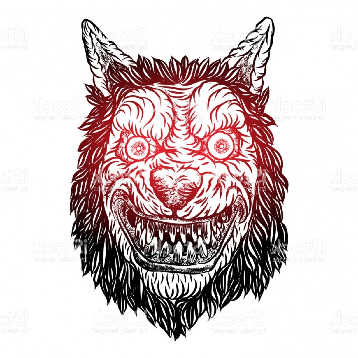 Full Moon Werewolf Vector 900: Angry Smiling Cunning Wolf Mascot Head Werewolf Blackwork Tattoo Flash Concept Gm