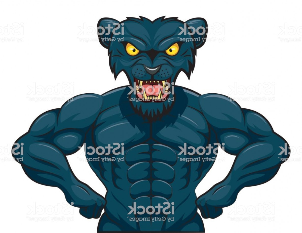 Panther Mascot Vector Sports: Angry Strong Panther Mascot Gm