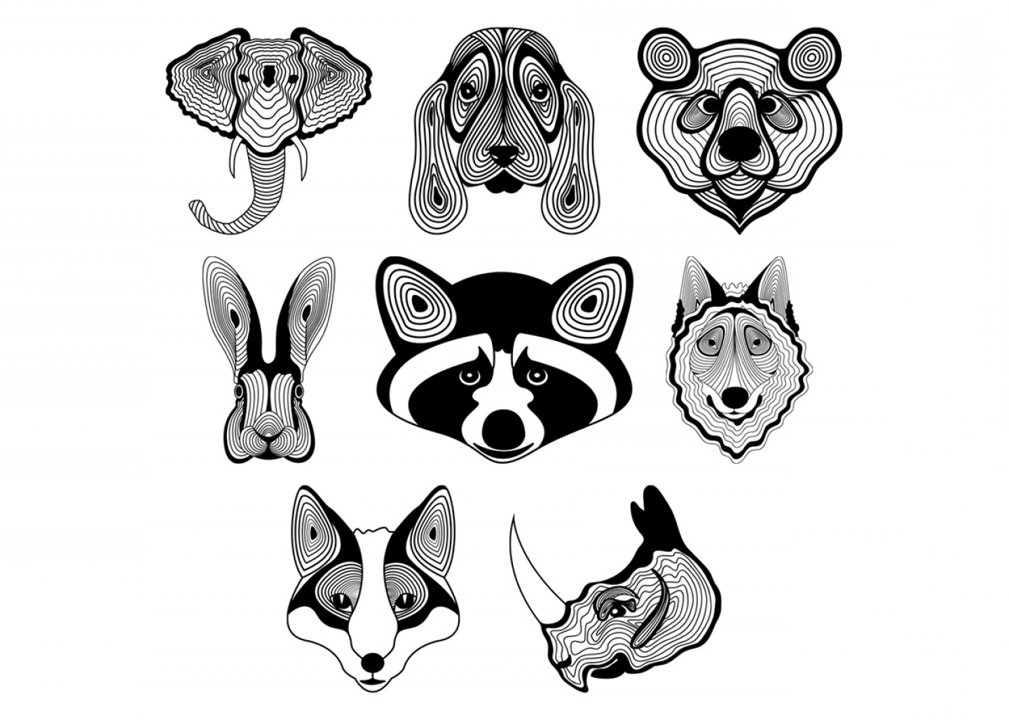 Free Vector Download Sites: Animal Faces Illustration Free Vector Download
