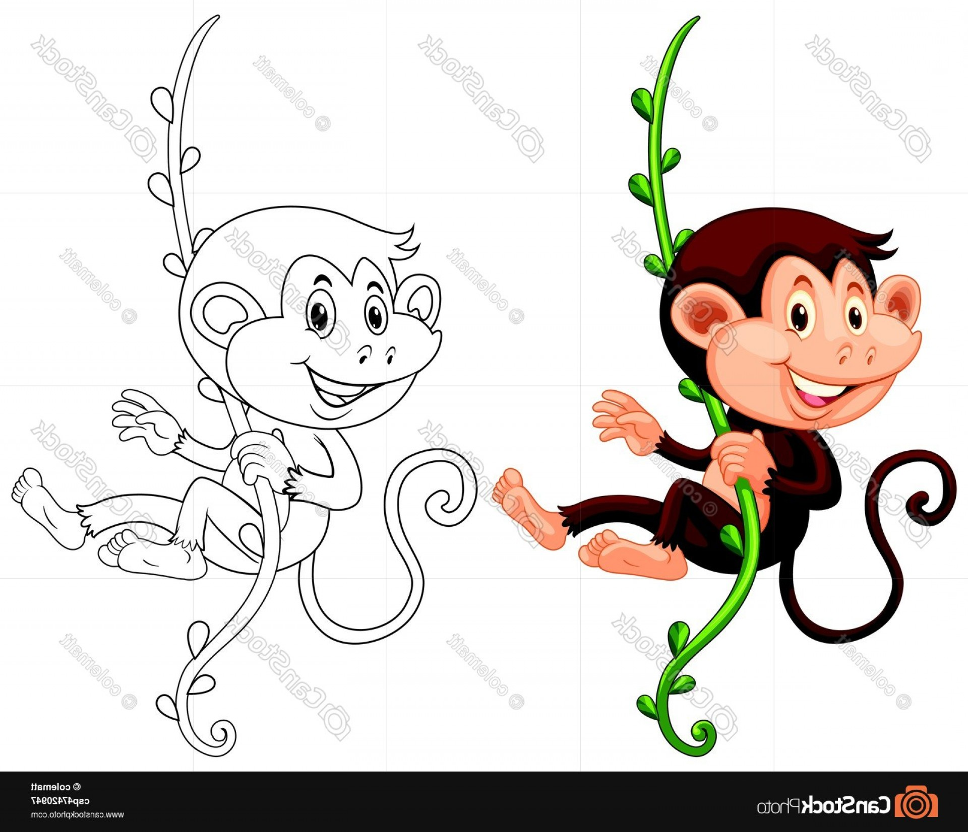 Vine Vector Graphics: Animal Outline For Monkey Hanging On