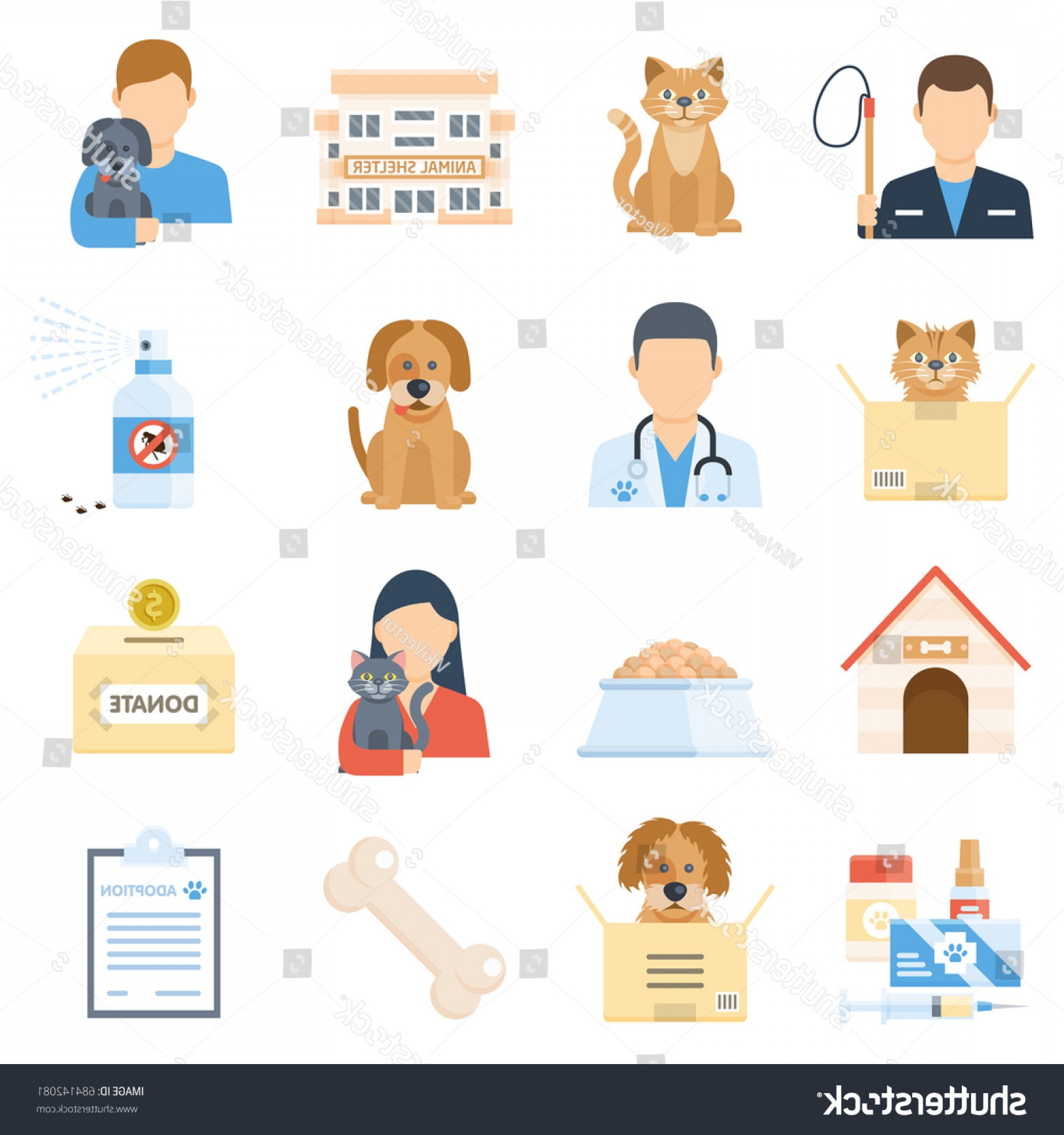 Adoption Art Animal Vector: Animal Shelter Set Adopting Homeless Pet