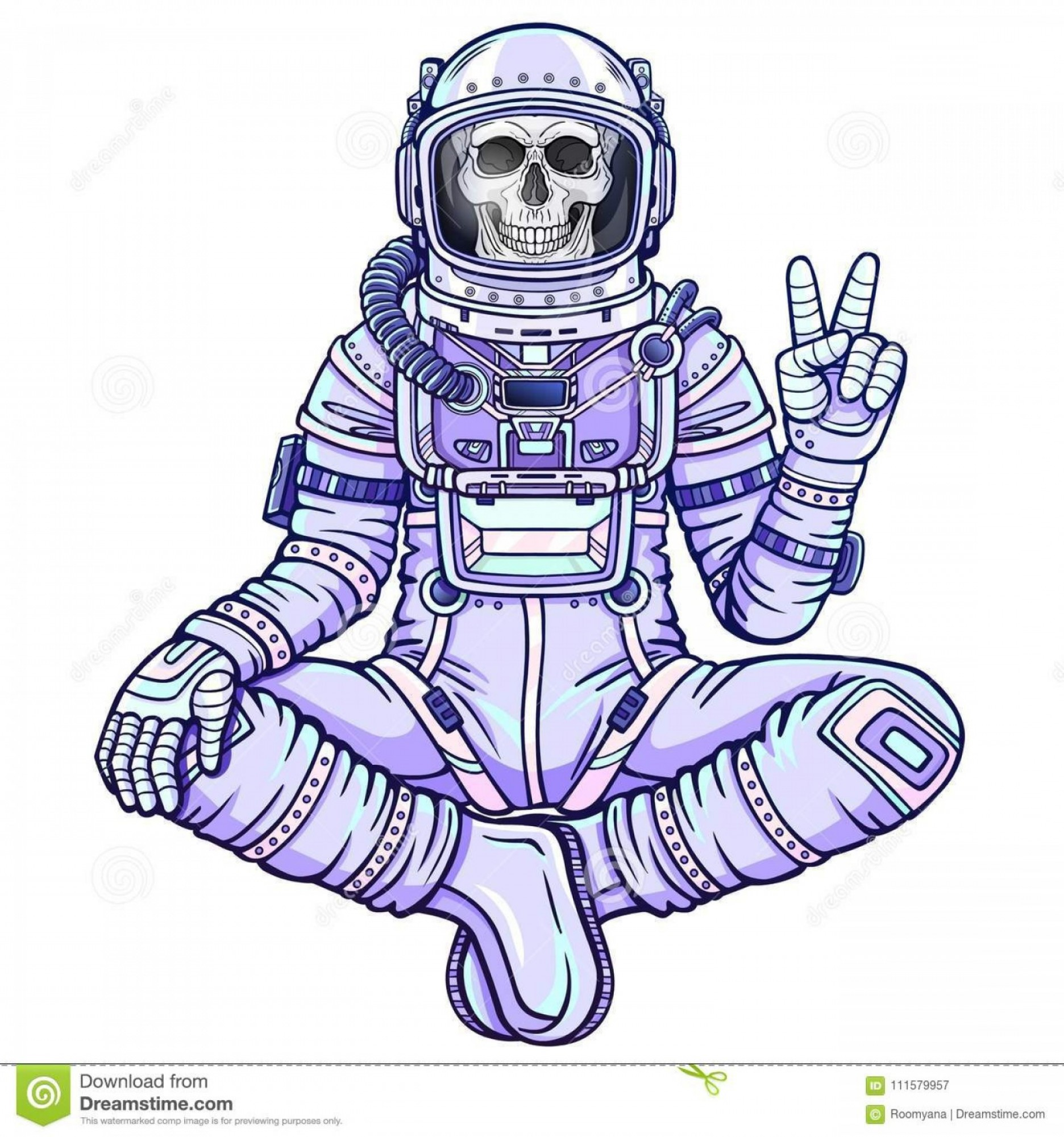 In Space Vector From Despicable Me: Animation Figure Astronaut Skeleton Sitting Buddha Pose Meditation Space Color Drawing Vector Illustration Isolated Image