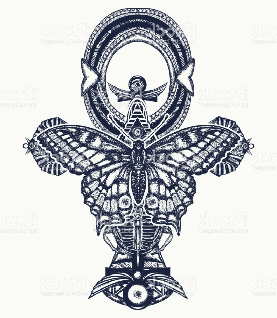 Vector Design Of An Ankh: Ankh And Butterfly Tattoo And T Shirt Design Ancient Egyptian Cross T Shirt Design Gm